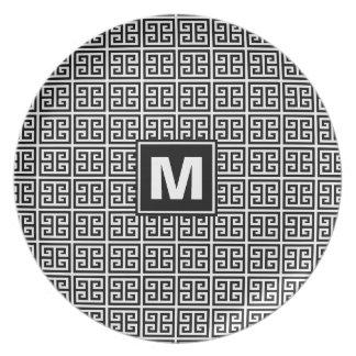 Prato Monograma chave grego preto e branco moderno