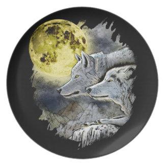 Prato Montanha da lua do lobo da fantasia
