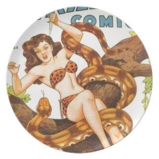 Prato Mulher com um cobra