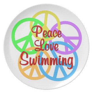 Prato Natação do amor da paz