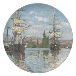 Prato Navios de Claude Monet que montam no Seine em