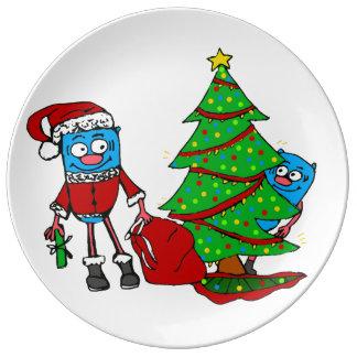 Prato Nenhuma placa espreitando do Natal