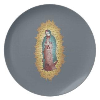 Prato Nosso design do mosaico da senhora Guadalupe