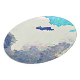 Prato Nuvens da monção na placa da melamina do óleo