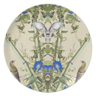 Prato O azul de bambu asiático floresce a placa da