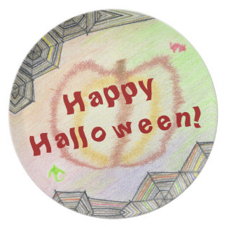 Prato O Dia das Bruxas feliz! Placa colorida brincalhão
