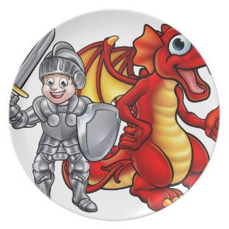 Prato O dragão dos desenhos animados e knight 2017 A3-01