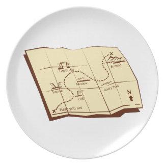 Prato O mapa da fuga com X marca o Woodcut do ponto
