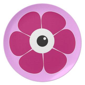 Prato o olho da flor cor-de-rosa