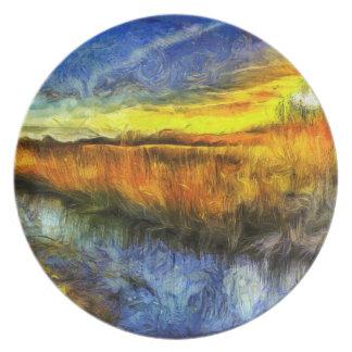Prato O rio Van Gogh do por do sol