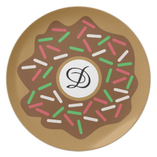 Prato O verde vermelho da rosquinha do Natal de Kawaii