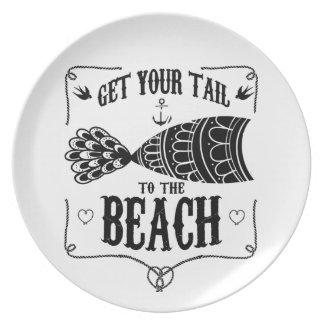 Prato Obtenha sua cauda à praia