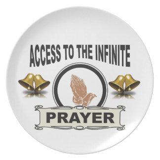 Prato oração infinita do acesso