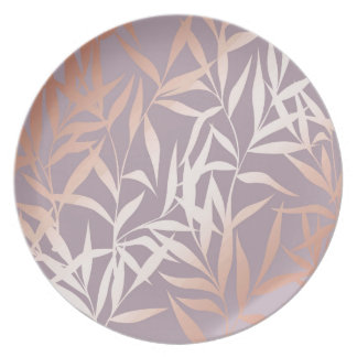 Prato ouro cor-de-rosa, asiático, folha, teste padrão,