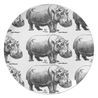 Prato ouro do hippopotamus