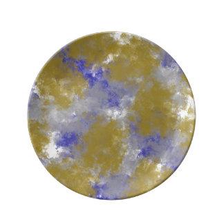 Prato Ouro do impressão da esponja do ouro & placa azul