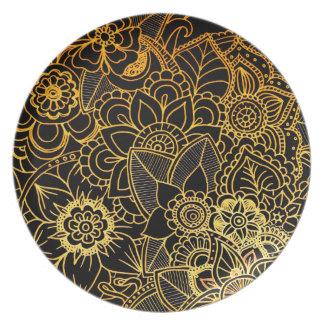 Prato Ouro floral G523 do Doodle da placa