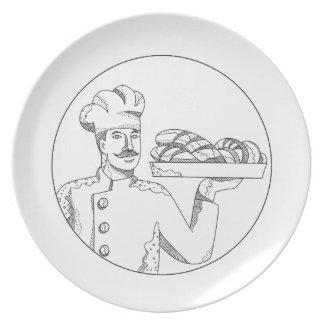 Prato Padeiro que guardara o pão na arte do Doodle da