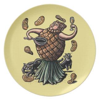 Prato Panquecas do fazer do cozinheiro chefe do abacaxi