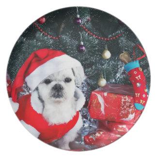 Prato Papai noel da caniche - cão do Natal - cão de
