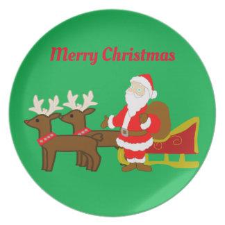 Prato Papai Noel no trenó do Natal