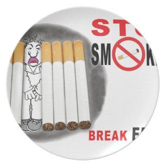Prato Pare de fumar lembretes - não mais bumbuns