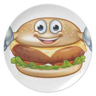Prato Personagem de desenho animado da mascote da comida