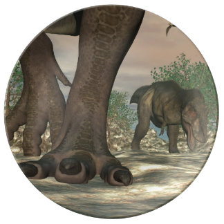 Prato Pés do dinossauro do rex do tiranossauro - 3D