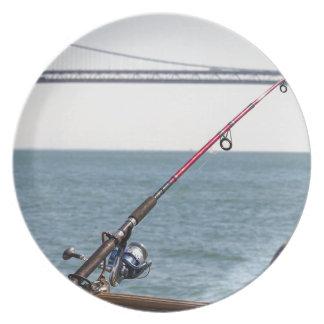 Prato Pesca Rod no cais em San Francisco Bay