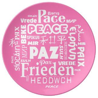 Prato Placa à moda da porcelana com palavras cor-de-rosa