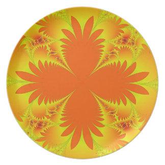Prato Placa alaranjada da melamina das frondas da palma