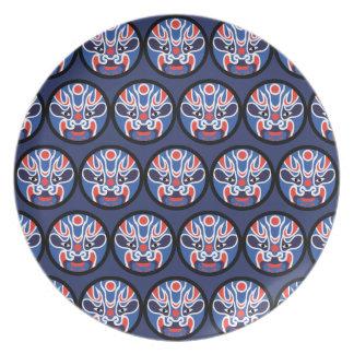 Prato Placa azul da melamina da máscara de Jitaku