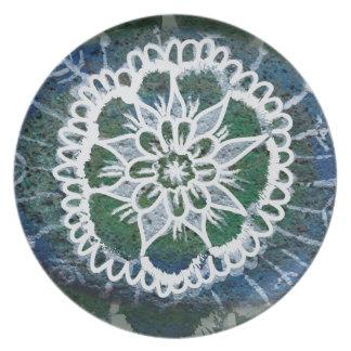 Prato Placa azul da melamina de Edelweiss da mandala