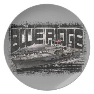 Prato Placa azul da melamina de Ridge do navio do