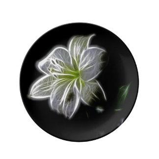 Prato Placa bonita da flor branca