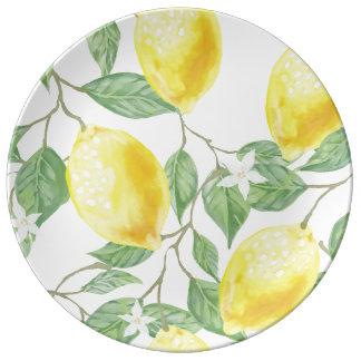 Prato Placa bonita e brilhante da porcelana com limões