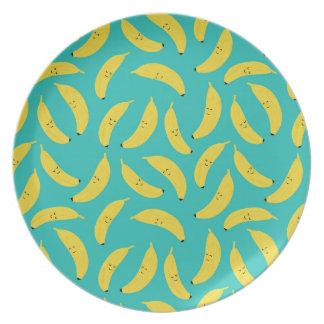 Prato Placa bonito das bananas felizes