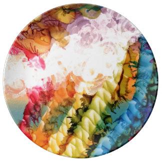 Prato Placa branca da arte do arco-íris da bolha