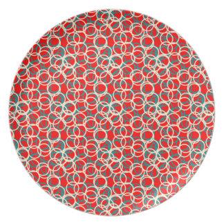 Prato Placa branca e azul vermelha colorida do teste