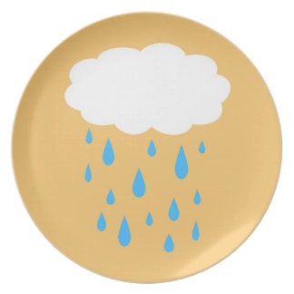 Prato Placa chuvosa da nuvem