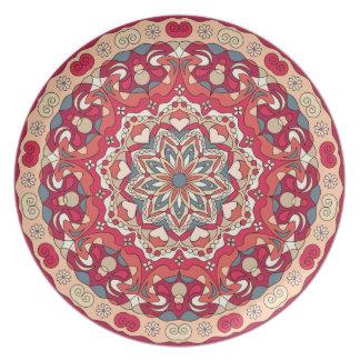 Prato Placa circular abstrata brilhante da melamina do