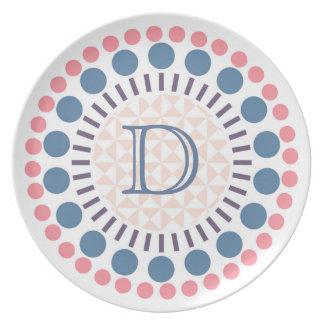 Prato Placa Customisable da melamina do monograma