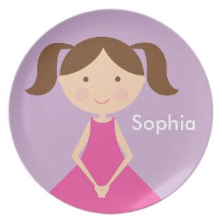 Prato Placa customizável da menina - mini mim