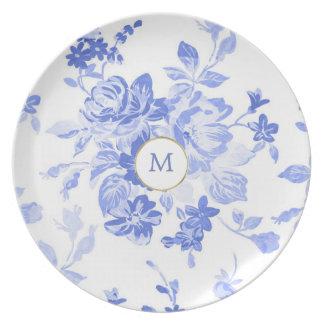 Prato placa customizável inicial branca azul bonito de