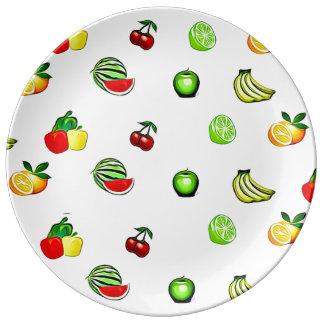 Prato Placa da comida dos gráficos das frutas e dos