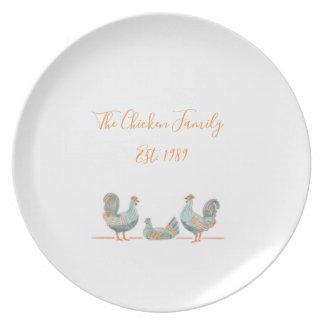 Prato Placa da família da galinha - customizável