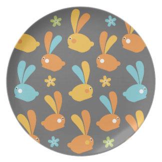 Prato Placa da ilustração dos coelhinhos da Páscoa