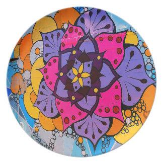 Prato Placa da mandala da flor