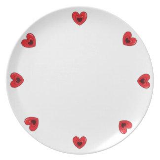 Prato Placa da melamina - corações