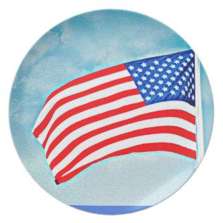 Prato Placa da melamina da bandeira americana